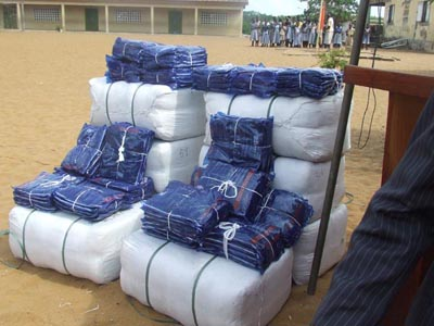 Display of bales of long lasting mosquito nets.